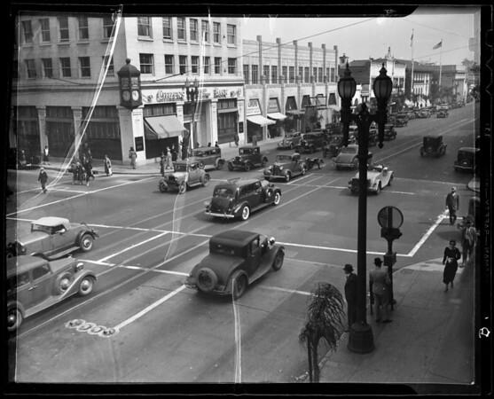 Traffic at East Colorado Boulevard and South Marengo Avenue, Pasadena, CA, 1936