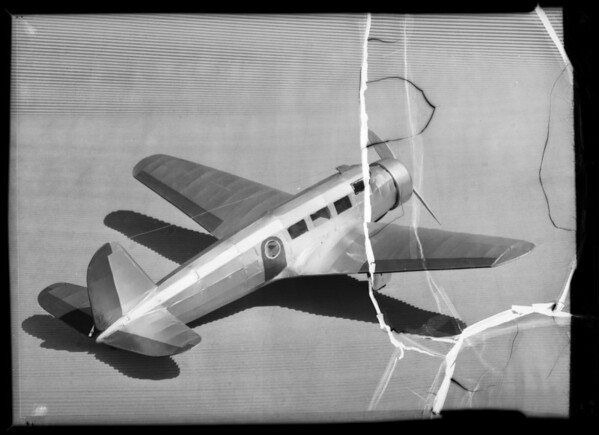 Model airplane, Southern California, 1936