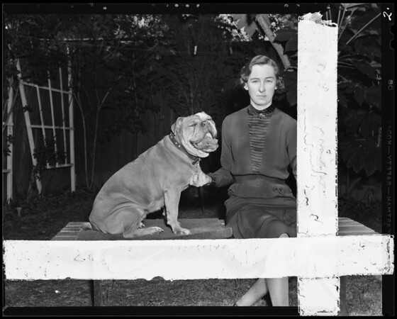 Miss McKey and her dog, 319 Randolph Street, Pomona, CA, 1940