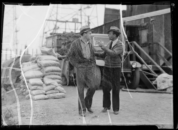 """""""Perferating Pete"""" and Field Foreman in offices, etc., Southern California, 1936"""