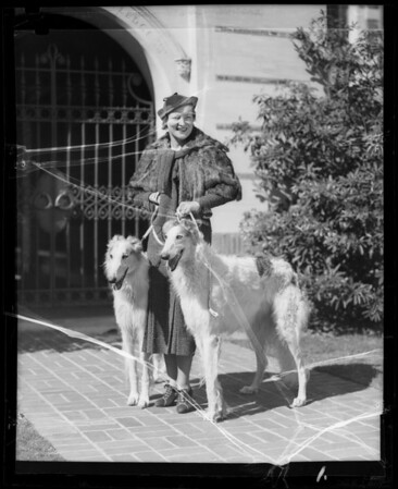 Peggy Wood & dogs, Southern California, 1935