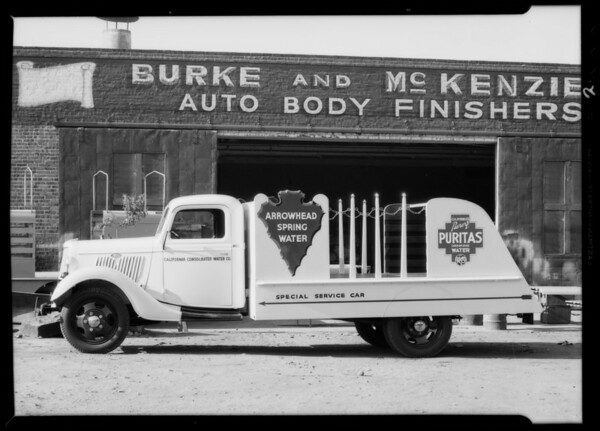 Arrowhead water truck, Southern California, 1935