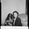 Mrs. Charles Levenberg and dog, Southern California, 1940
