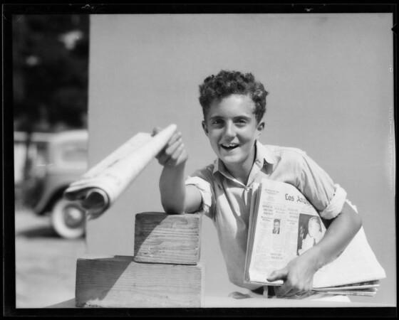 "Edward selling ""Times"", Southern California, 1935"