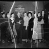 Group of girls and Mayor Shaw, Southern California, 1935