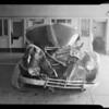 1940 Pontiac sedan and scenes of accident on Rosecrans Avenue, Southern California, 1940