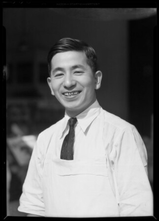 George Nahamera - manager of fruit stand at 10th Street [West Olympic Boulevard] and South Norton Avenue, Los Angeles, CA, 1935