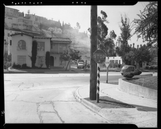 Skid marks and street in front of 1494 1/2 North Silver Lake Boulevard, Miss Thompson's wrecked Chrysler, Southern California, 1940