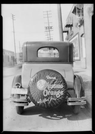 Mission Orange tire cover, Southern California, 1926