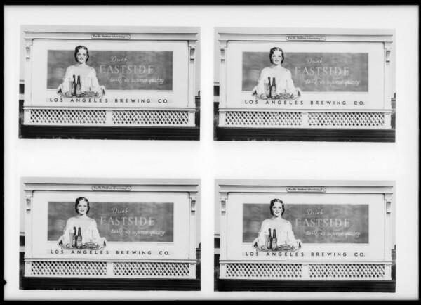 Eastside beer board, Southern California, 1935