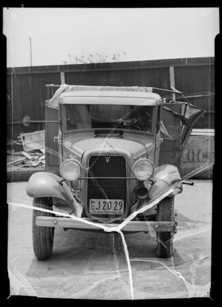 Wrecked Ford V8 truck, Our Own Dairies owner and assured, Southern California, 1936