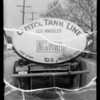 Tank truck & trailer wreck, Captiol Tank Lines owner & assured, Southern California, 1935