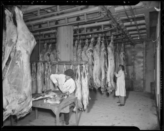 Interior of meat packing plant, Southern California, 1940