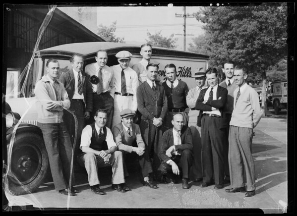 Group of drivers, Beverly Hills laundry, Southern California, 1936