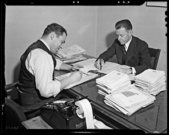 Mr. LaBuano & accountant at desk, Southern California,  1940