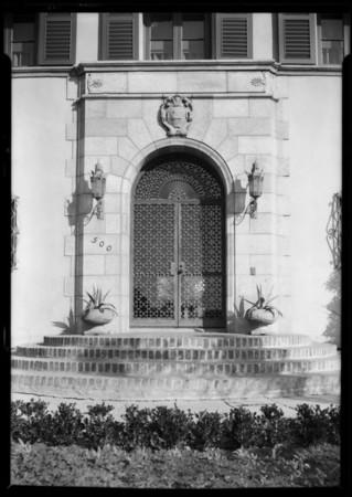 Home entrance, 500 South Hudson Avenue, Los Angeles, CA, 1926