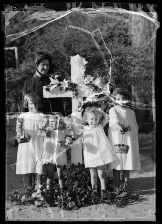 Children at day nursery with easter baskets, Southern California, 1936