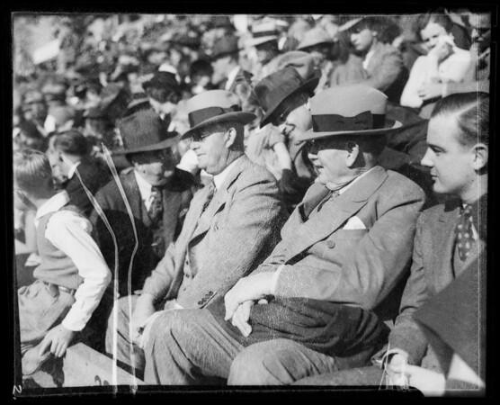 Mr. and Mr. Nash in boxes at Rose Parade, Pasadena, CA, 1936