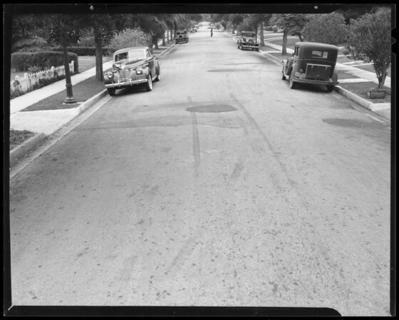 Skid marks in front of 626 Westmount Drive, West Hollywood, CA, 1940