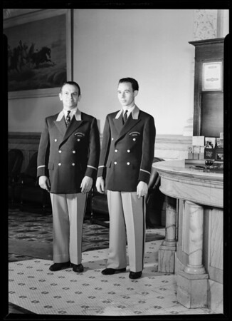 Bell boys at Westminster Hotel wearing new uniforms, South Main Street & West 4th Street, Los Angeles, CA, 1940