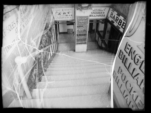 Stairway of Stephen's Billiard Parlor, Southern California, 1936