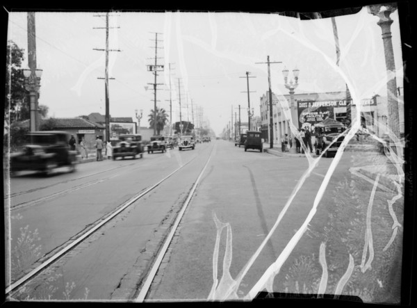 Accident, Budlong Avenue and West Jefferson Boulevard, Los Angeles, CA, 1935