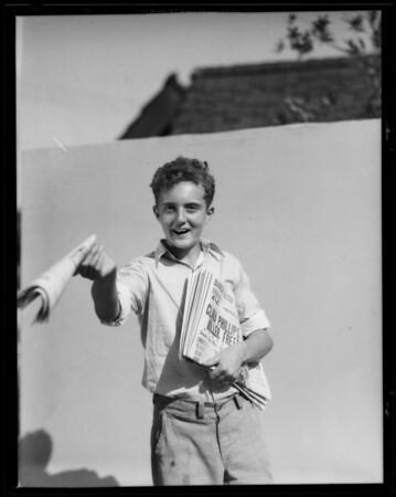 Edward as newsboy, Southern California, 1935