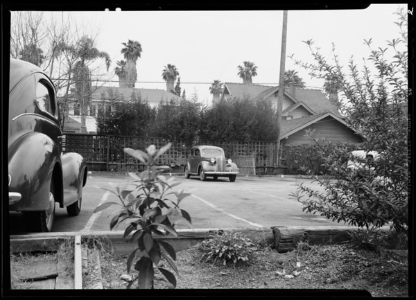 Lucca's parking lot, Los Angeles, CA, 1940