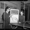 Students, professor, & architectural drawings at USC, Los Angeles, CA, 1940