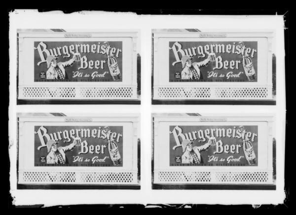 Burgermeister Beer billboard, Southern California, 1935