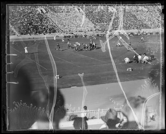 Football scenes, UCLA vs Oregon University, Southern California, 1935