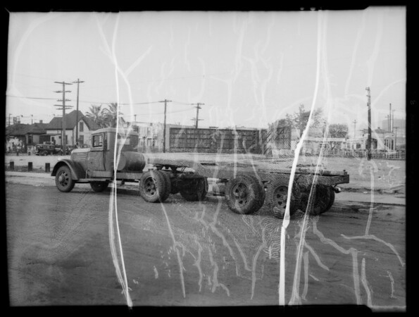 Tank truck and tractor chassis, Southern California, 1936