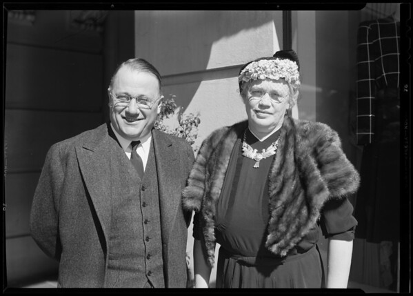 Senator Sordoni and wife, Southern California, 1940