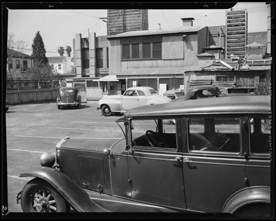 Parking lot in rear of Lucca's, West 5th Street and South Western Avenue, Los Angeles, CA, 1940