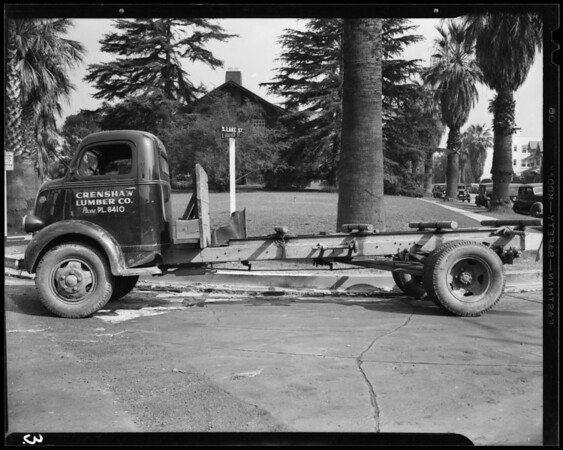 Damage to Crenshaw Lumber Co. truck, 1253 South Hoover Street, Los Angeles, CA, 1940