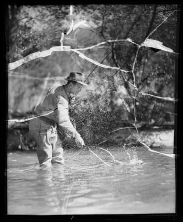 Trout fishing, Southern California, 1936