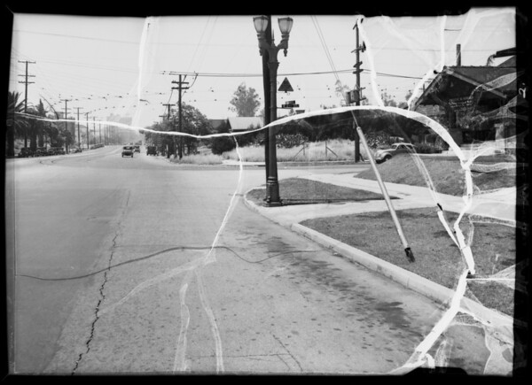 Intersection of West 2nd Street & South Rampart Boulevard, looking south on Rampart to show invisibility, Los Angeles, CA, 1936