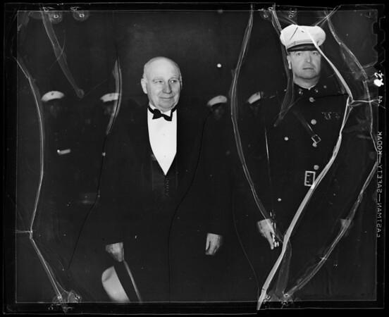Governor Merriam receiving salute, Southern California, 1936
