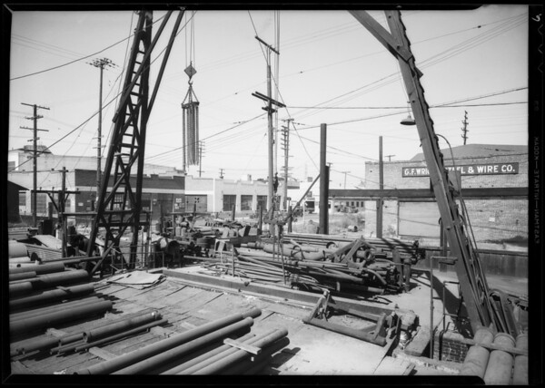 Crowded condition of pipe yard, Southern California, 1935