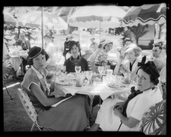 Groups at tables, Los Angeles, CA, 1935