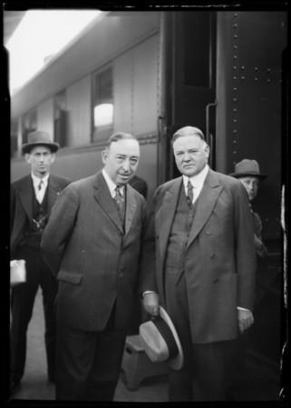 Secretary Hoover at Depot, Southern California, 1926