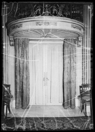 Draperies and bracket in blue room at Biltmore, Southern California, 1935
