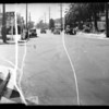 Intersection of 12th and Sentons, skid marks, Dr. Semmens assured, Southern California, 1935