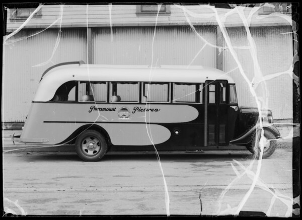 Exteriors and interior of Paramount Studios bus, Southern California, 1936