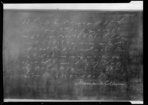 Blackboard, Southern California, 1936