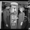 Patricia Ellis at Country Club service station, Olympic Boulevard, Beverly Hills, CA, 1940