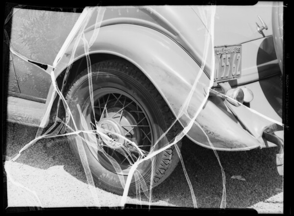 Front fender, Ford sedan, Ralph Wilberg, owner, rear fender, Ford coupe, Marion V. Walton, owner & assured, Southern California, 1935
