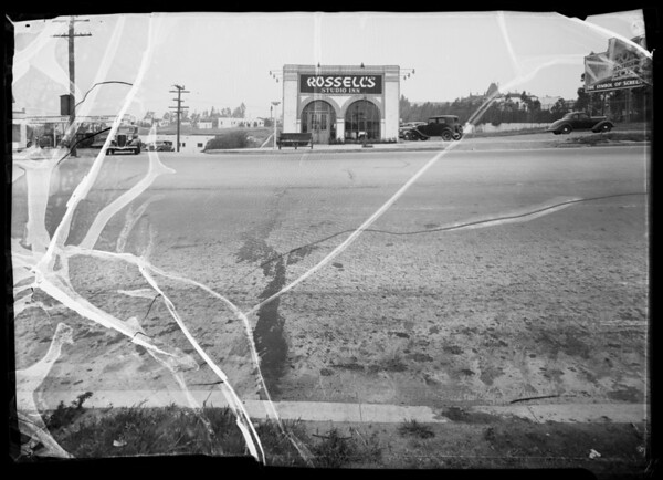 Intersection of West Pico Boulevard and Fox Hills Drive and Ford roadster at West Los Angeles Police Station, Los Angeles, CA, 1936