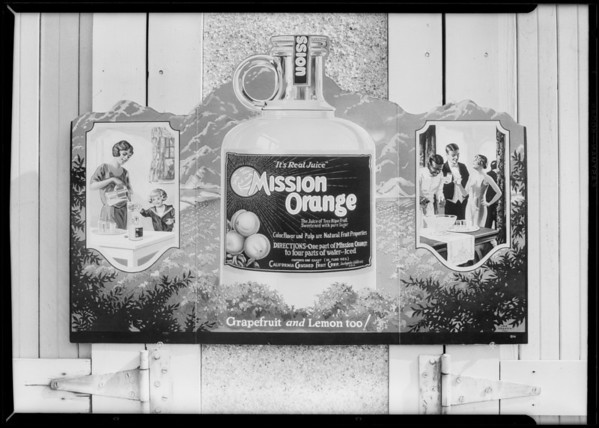 Mission Orange advertising material, Southern California, 1927