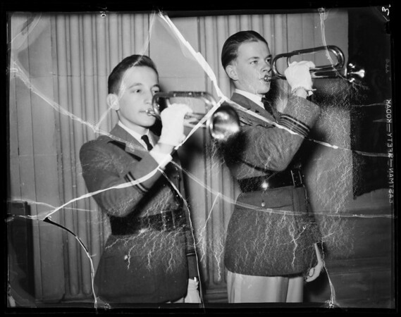 Buglers opening Grand Army of the Republic meeting at Biltmore Hotel, Southern California, 1936